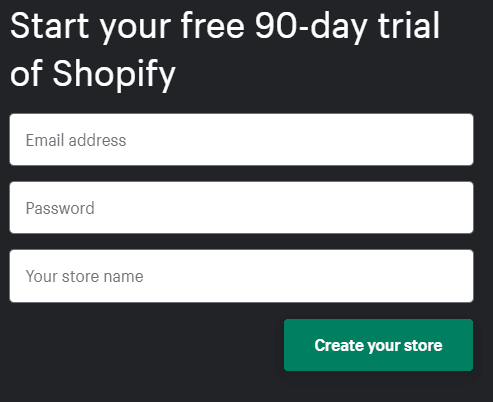 Shopify sign up