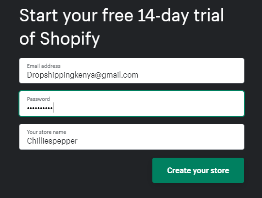 Creating shopify store